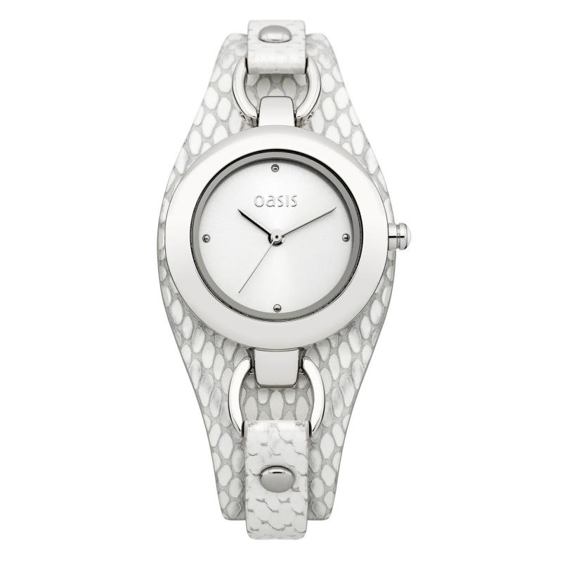 Oasis Ladies B1397 Analogue Watch Silver/White