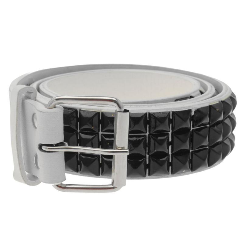 Pulp 3 Row Stud Belt Mens White/Black