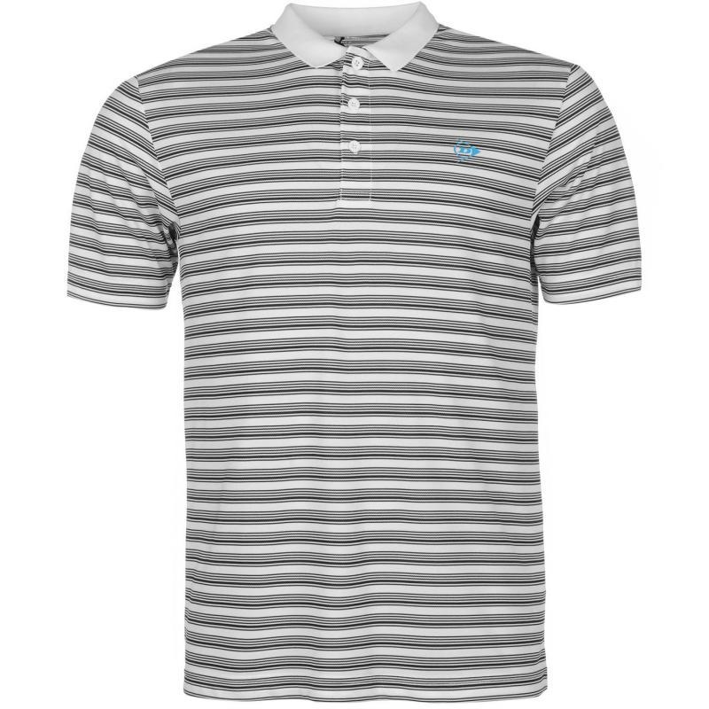 Dunlop Stripe Polo Mens White/Black