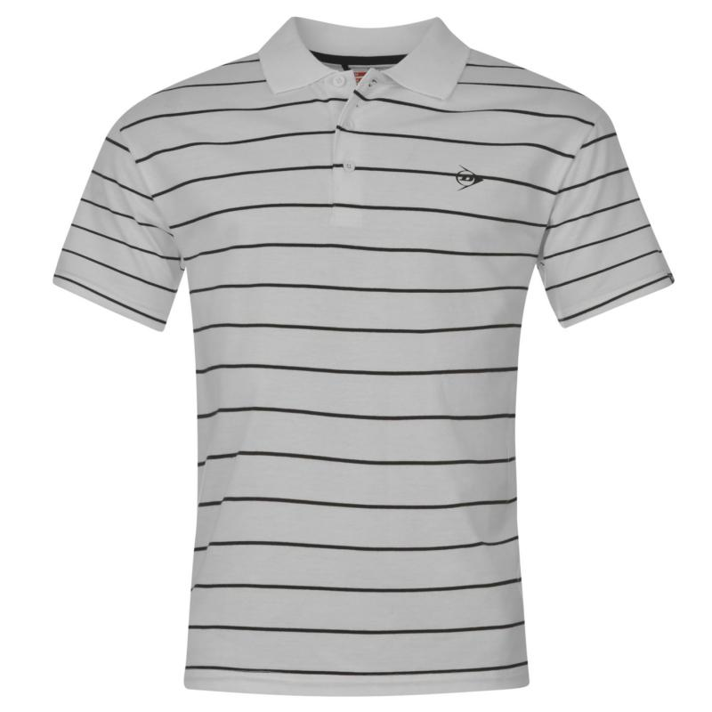 Dunlop Stripe Polo Mens White/Black