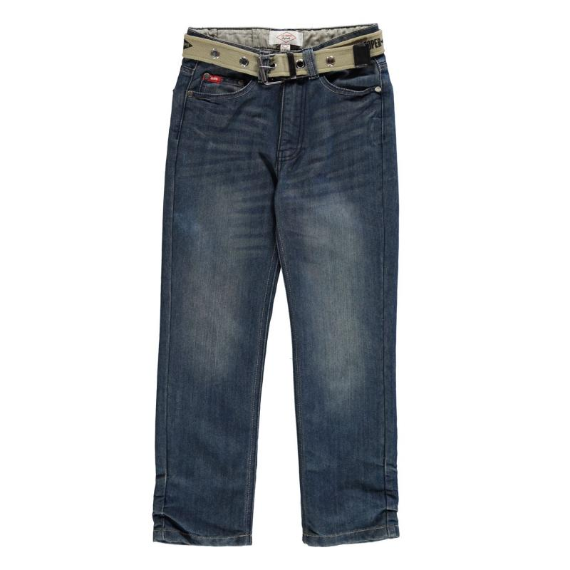 Kalhoty Lee Cooper Belted Jean Junior Mid Wash