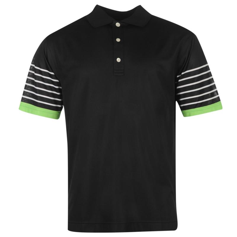 Footjoy Stripe Sleeve Polo Shirt Mens Black/White