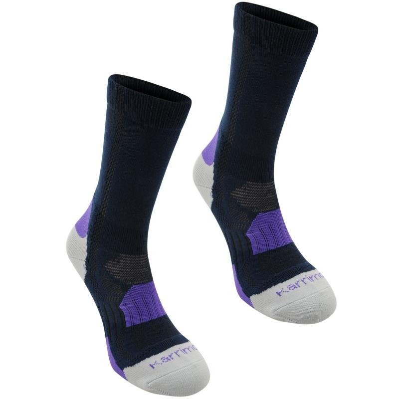 Karrimor Walking Socks 2 Pack Ladies Navy/Purple
