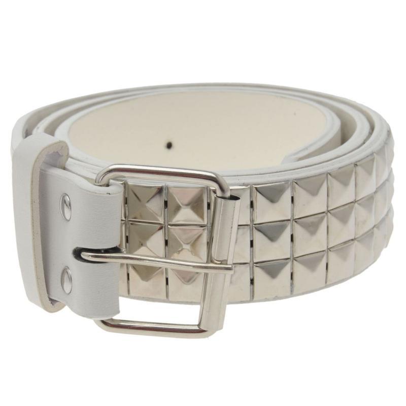 Pulp 3 Row Stud Belt Mens White/Silver