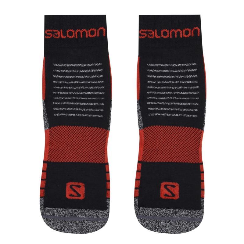 Salomon Merino Low 2 Pack Walking Socks Mens Black/Red