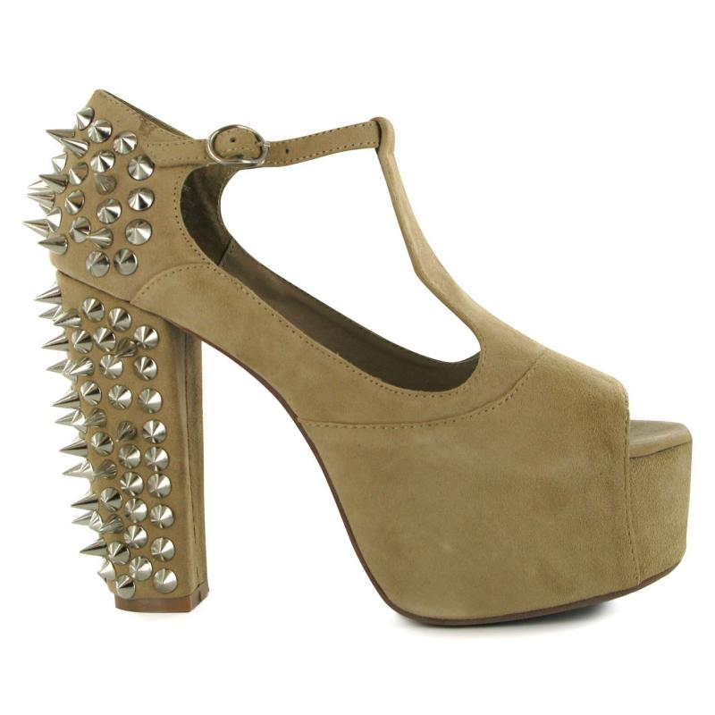 Jeffrey Campbell Foxy Spike Shoes Brown Leather