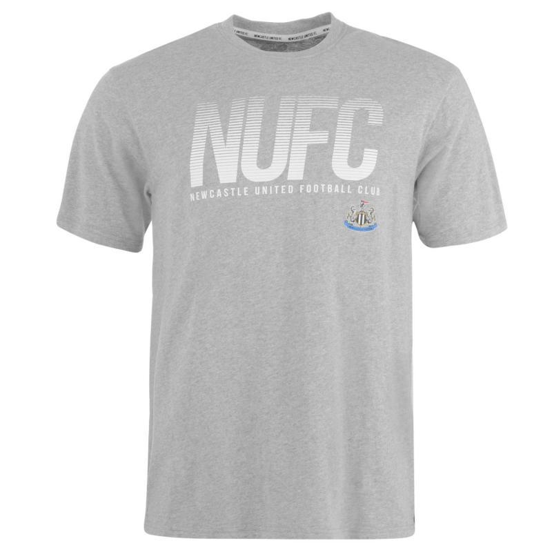 Tričko NUFC Newcastle United Lined T Shirt Mens Grey