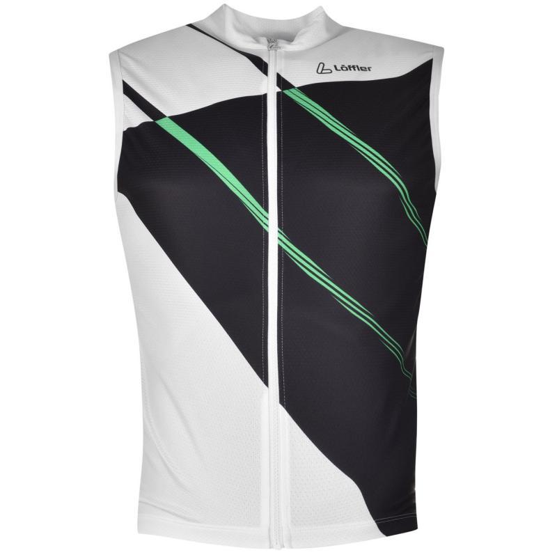 Tričko Löffler Perforated Full Zip Sleeveless Cycling Jersey Mens Black/Green/neo