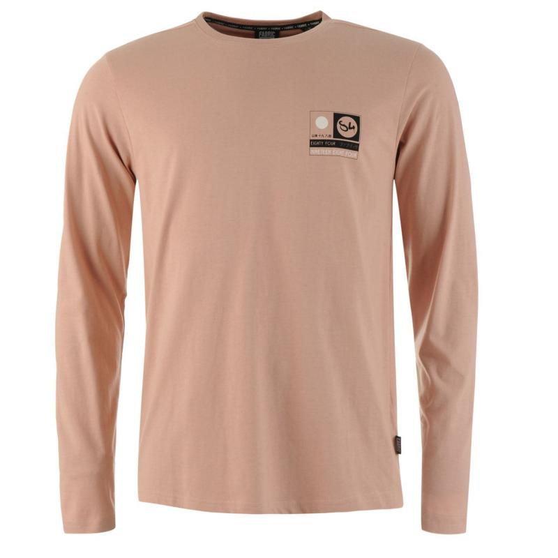 Tričko Fabric Long Sleeve Graphic T Shirt Mens Dusty Pink