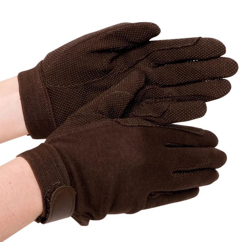 Requisite Cotton Grip Riding Glove Ladies Brown