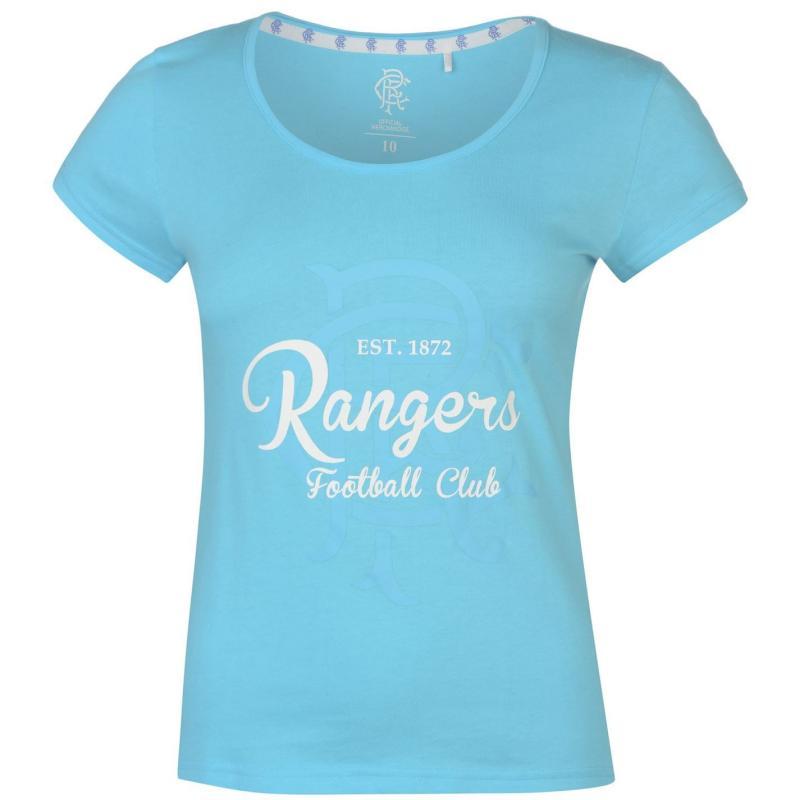 Team FC Crest Print T Shirt Ladies Blue