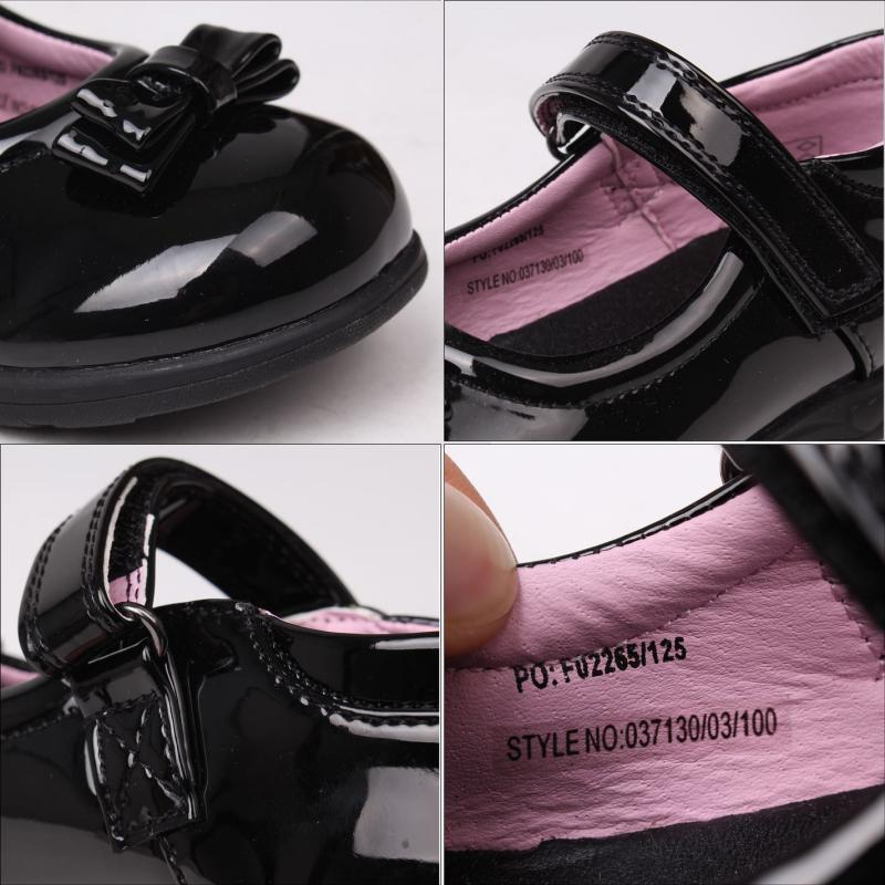 Miss Fiori Mary Jane Bow Childrens Shoes Black/Patent
