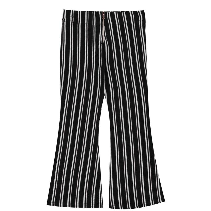 Firetrap Ribbed Wide Leg Trousers Girls Jet Stripe