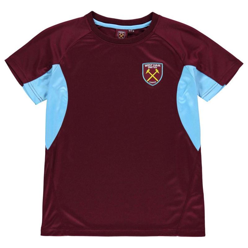 Source Lab West Ham United T Shirt Junior Boys Claret/Blue