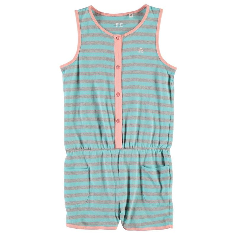 French Connection Stripe Playsuit Turquoise