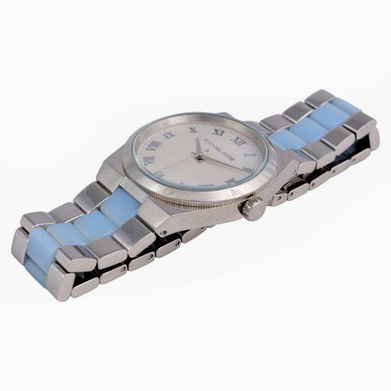 MICHAEL Michael Kors Channing Acetate Watch Silver/Blue