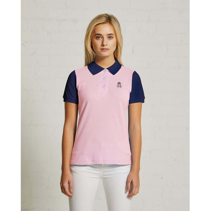 Polokošile Hurlingham Polo 1875 Essential Contrast Polo Ladies Pink/Navy