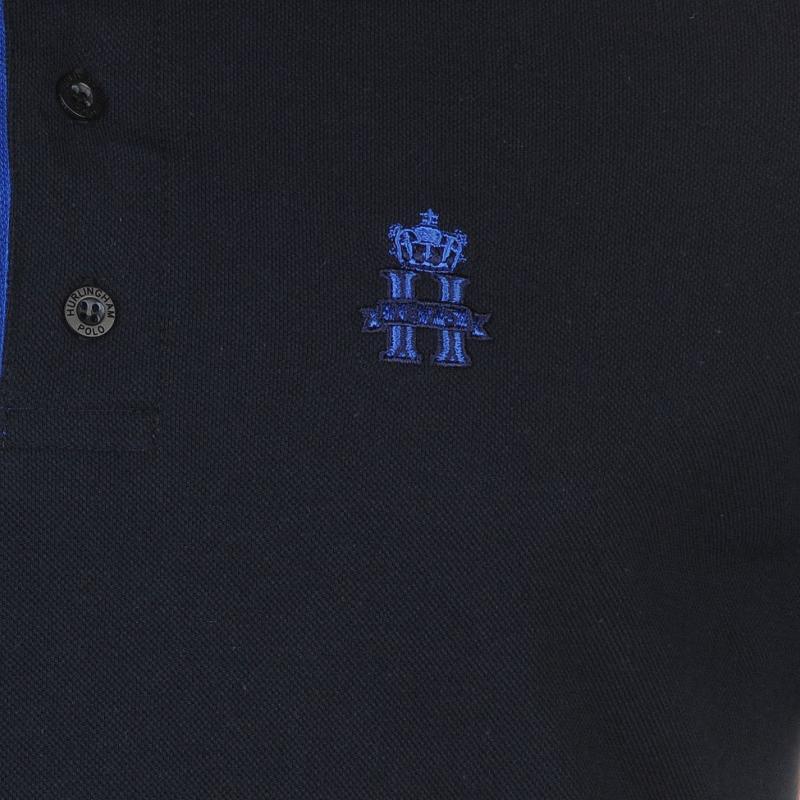 Hurlingham Polo 1875 Essential Contrast Polo Shirt Mens Royal/Navy