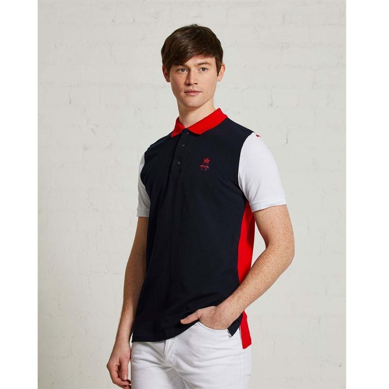 Hurlingham Polo 1875 Essential 3 Colour Polo Shirt Mens Navy/Red/Wht