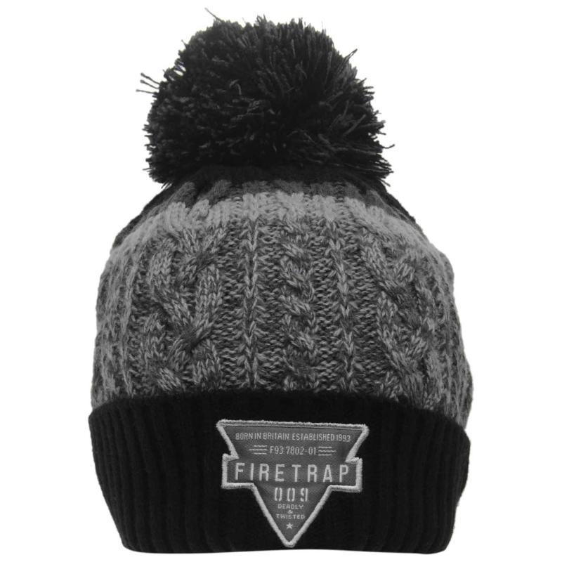 Firetrap Kilauea Bobble Hat Black/Grey