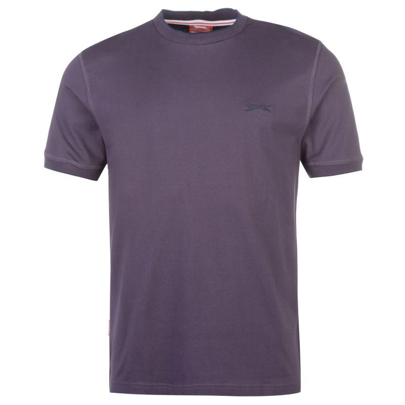 Tričko Slazenger Tipped T Shirt Mens Dark Purple