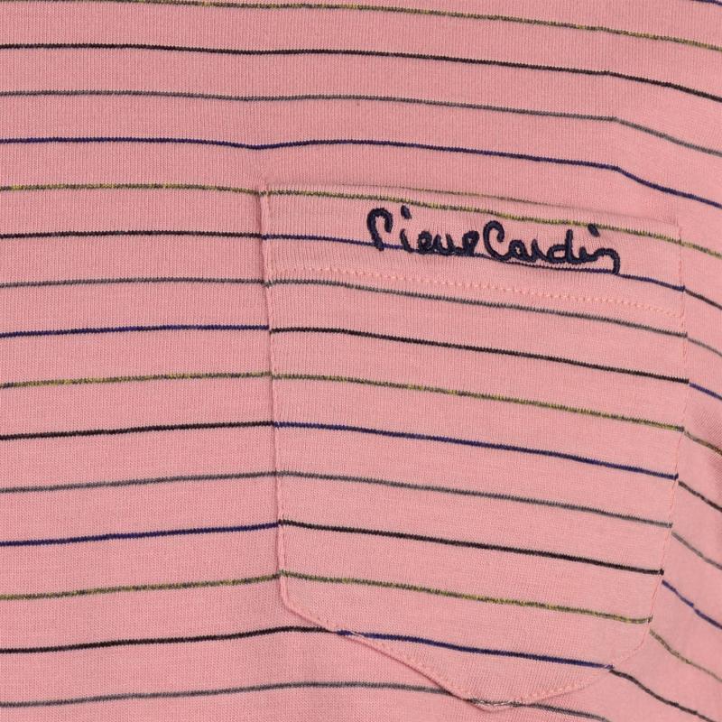 Tričko Pierre Cardin Regular Fit Pinstripe TShirt Mens Navy/ Red