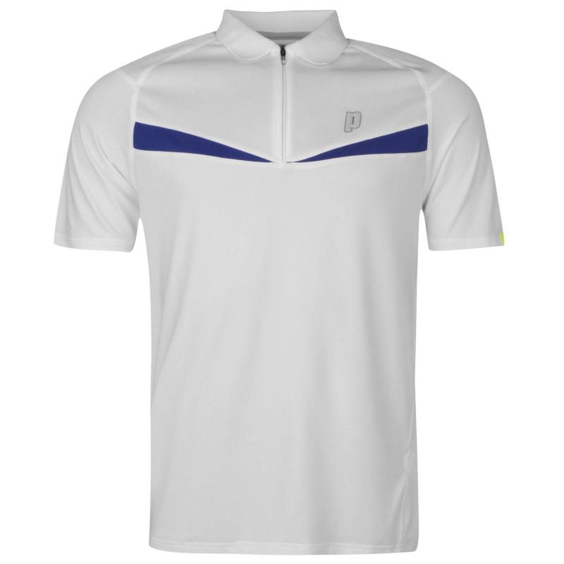 Prince Half Zip Dart Panel Shirt Mens White