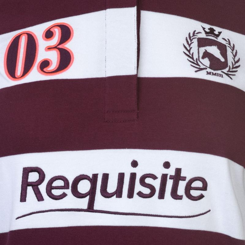 Requisite Striped Rugby Top Ladies Burgundy/White