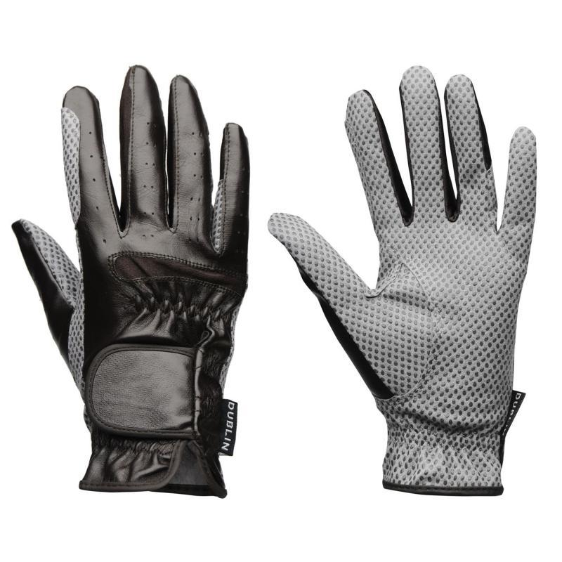 Dublin Equigrip RidingGloves Mens Brown/Grey