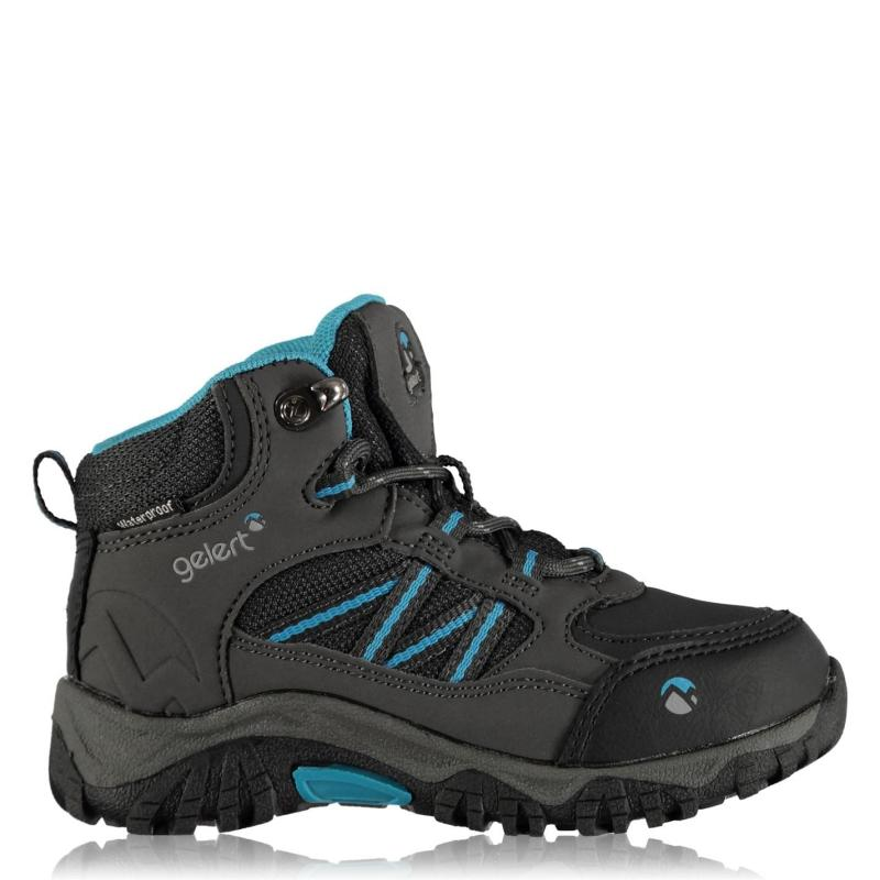 Gelert Horizon Mid Waterproof Infants Walking Boots Charcoal/Blue