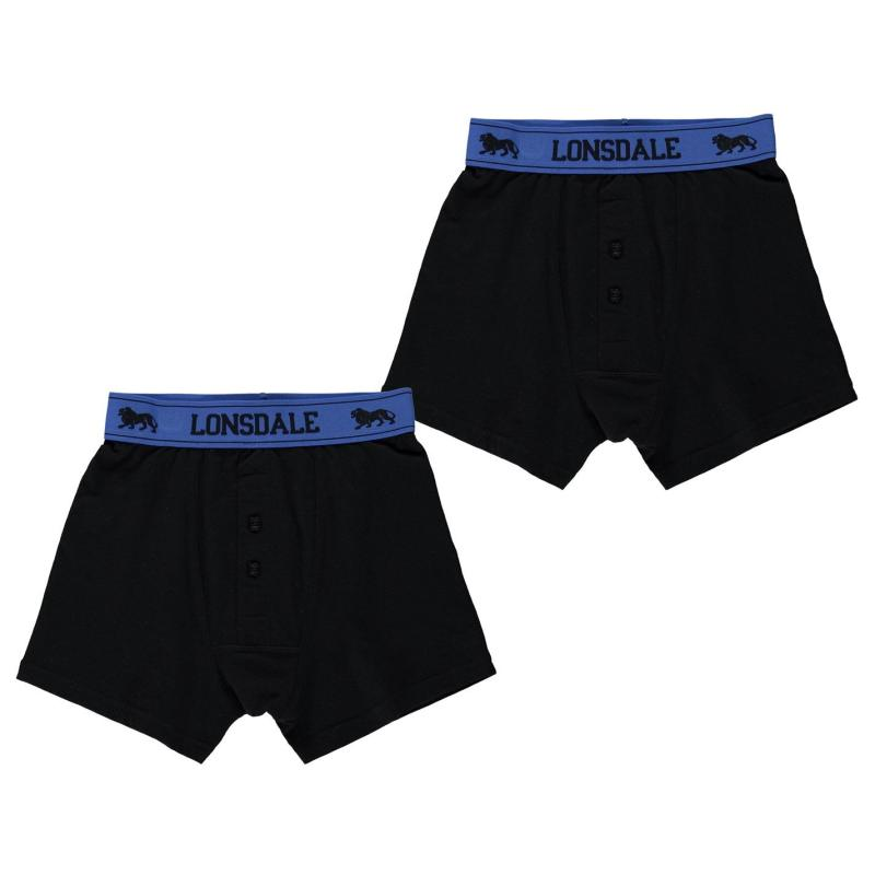 Spodní prádlo Lonsdale 2 Pack Boxers Junior Blue/Black