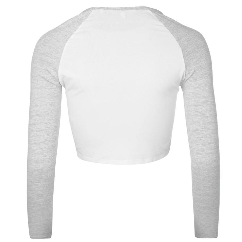 Miso Long Sleeve Crop Top Ladies White/Grey