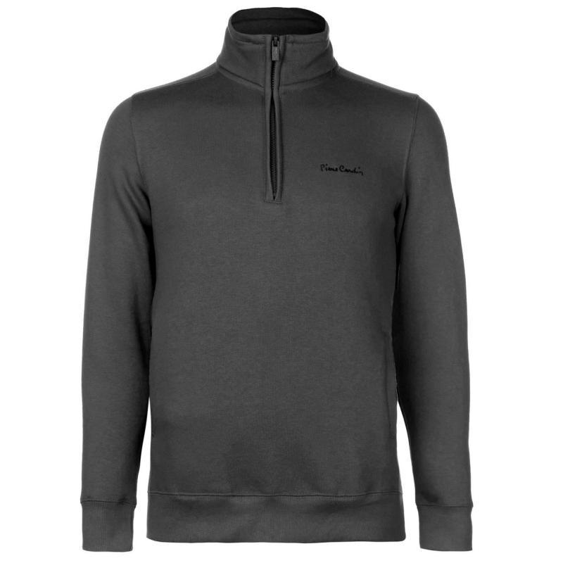 Mikina Pierre Cardin Quarter Zip Fleece Top Mens Black