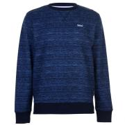 Lee Cooper Textured AOP Crew Sweater Mens Navy Marl