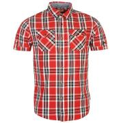 Lee Cooper Short Sleeve Check Shirt Mens Red/White/Black
