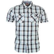 Lee Cooper Short Sleeve Check Shirt Mens White/Navy/Blue