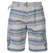 Lee Cooper Belted Shorts Mens Dk Grey/Lt Grey