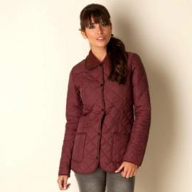 Bunda Glamorous Womens Quilted Cord Collar Jacket Burgundy