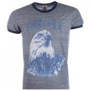 Tričko Franklin And Marshall Mens Print T-Shirt Grey Marl