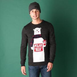 Tokyo Laundry Mens Polar Beer Christmas Knit Jumper Charcoal