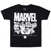 Tričko Junior Boys Marvel Cap Panels T-Shirt Black