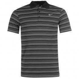 Nike Stripe Polo Top Mens Black