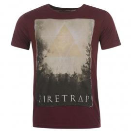 Tričko Firetrap Epping T Shirt Mens Burgundy