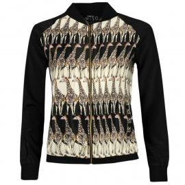 Bunda Miso All Over Print Woven Bomber Jacket Ladies Giraffe/Black