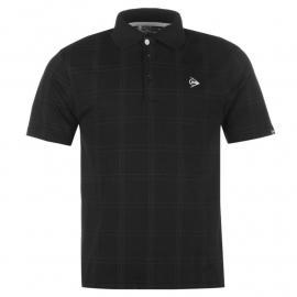 Dunlop Check Golf Polo Shirt Mens Black