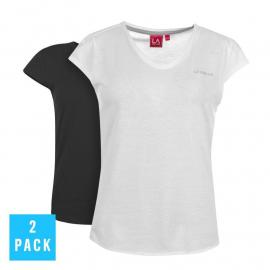 LA Gear 2 Pack V Neck Top Ladies Black/White