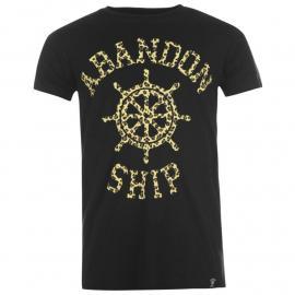 Tričko Abandon Ship T Shirt Mens Leopard Wheel