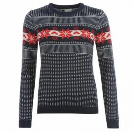 Svetr Star Xmas Fair Isle Knitted Sweatshirt Ladies Navy/Cream/Red