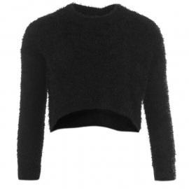 Svetr Golddigga Fluffy Cropped Knit Jumper Ladies Black