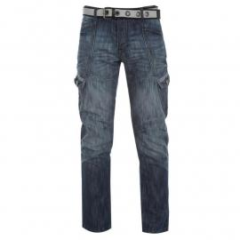Airwalk Belted Cargo Jeans Mens Mid Wash